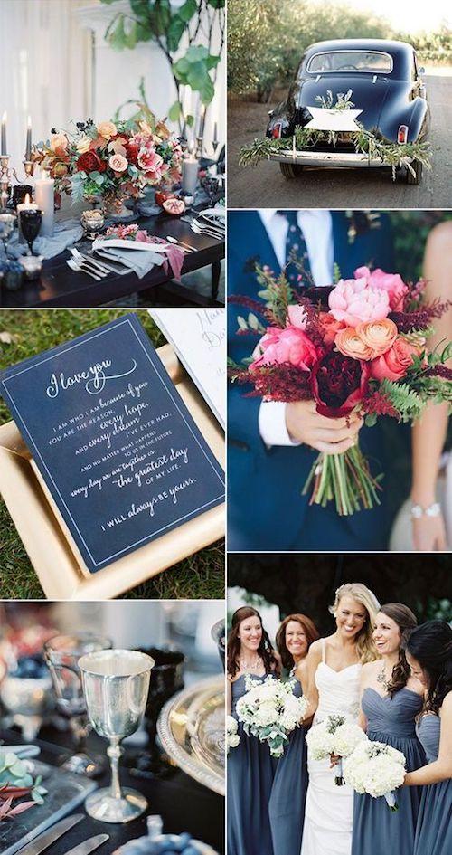 Entre los tipos de bodas, el clásico es uno de los favoritos. Azul pizarra y carmín con un toque de blanco.
