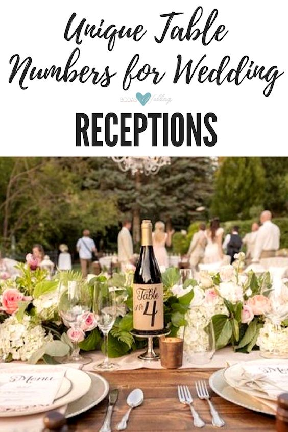 Unique table numbers for outdoor wedding receptions.