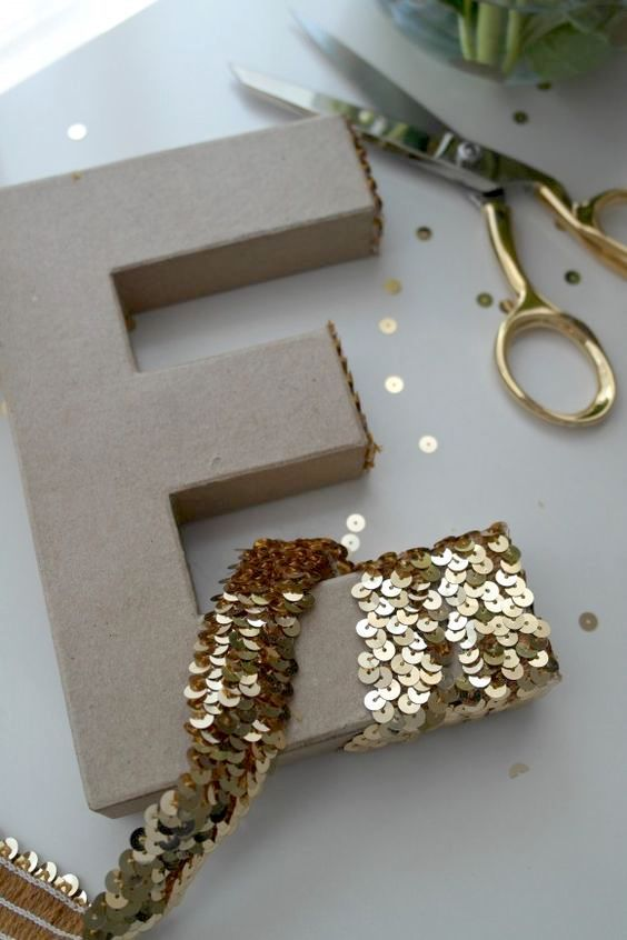 Are you crafty? Make your own glam sequin monogrammed letters for your wedding decor.