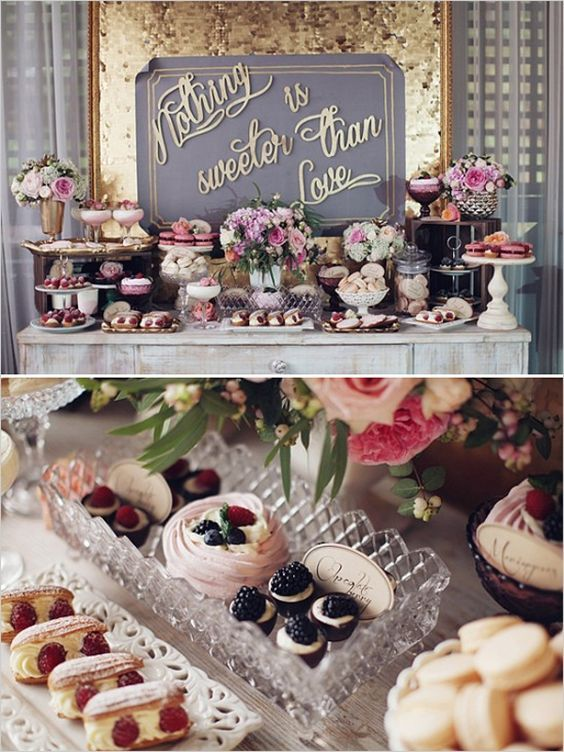 """Nothing is sweeter than love"" wedding dessert table ideas."
