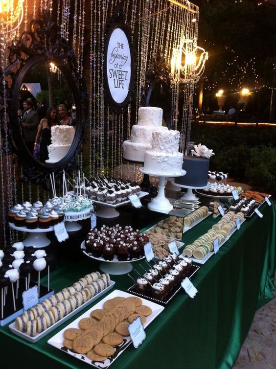 Place your wedding dessert table against a wall and personalize it with a few mirrors and signs.