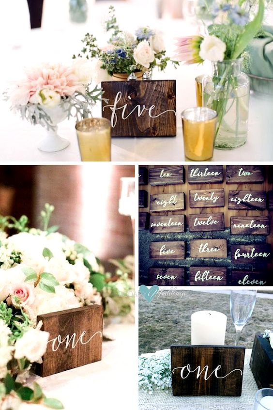 Wooden table numbers by K & J and Oaky Designs.
