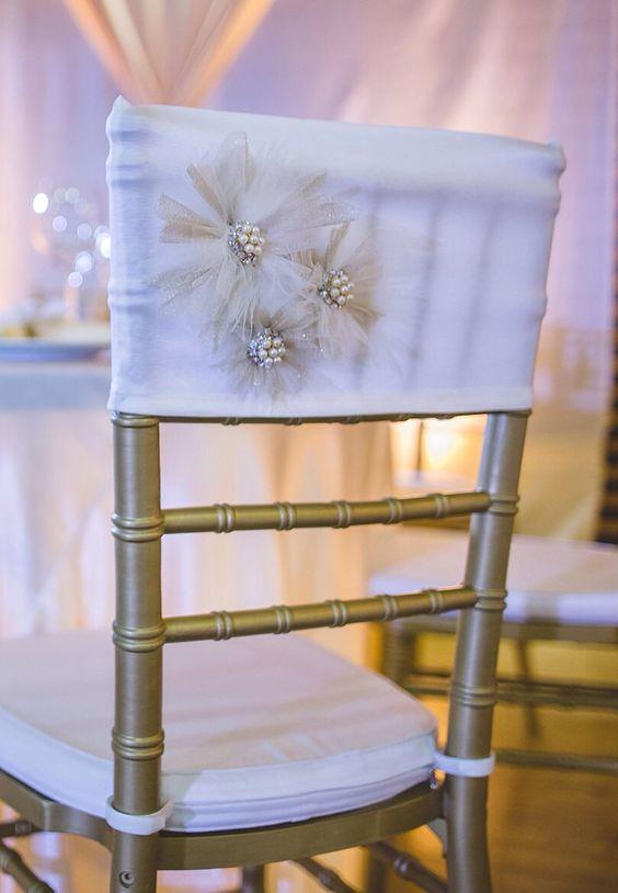 Revamp your Chiavari chairs with a white wedding decor idea. FloraRosa Design.