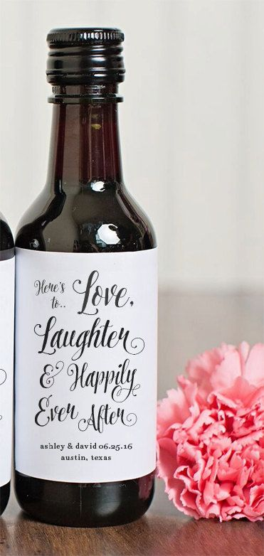 Personalized labels with the bride and grooms name. Add them to your favors!
