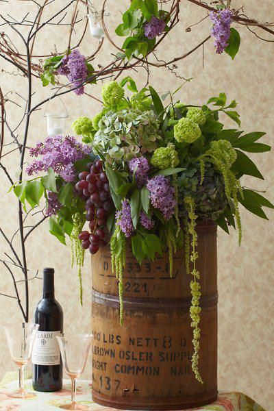 Vineyard wedding color ideas: lavender and chartreuse.