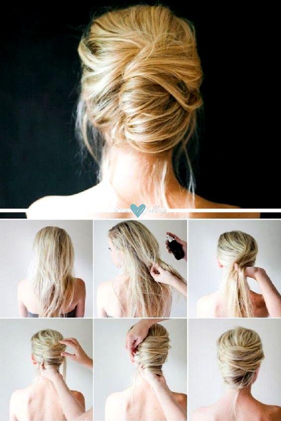 Un peinado que puedes lograr en minutos: un banana bun sencillo de hacer. Recuerda de agregar producto para que tu pelo no se deslice tan fácilmente.