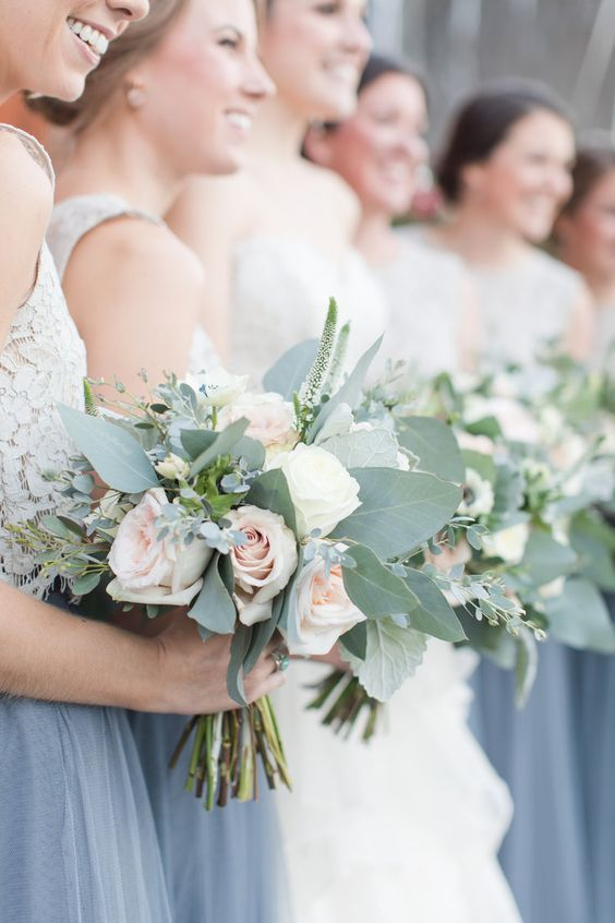 Dusty blue, white, and blush bridesmaids at this winery wedding. Shalese Danielle Photography.