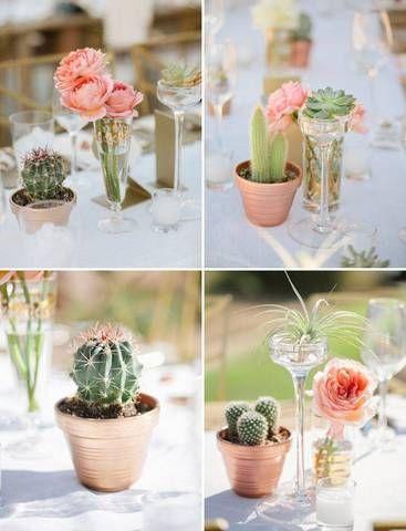 Cuatro ideas de centros de mesa con cactus para bodas en verano.¿Ya escogiste el tuyo?