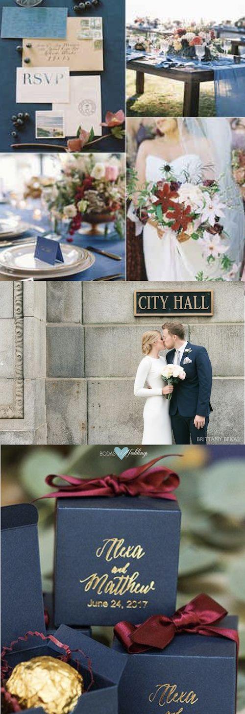 Ciruela, rosa pálido y azul navy agrisado, una combinación fabulosa. Boda otoñal en el City Hall de Chicago, foto Brittany Bekas. Souvenirs de boda de Beau-Coup.