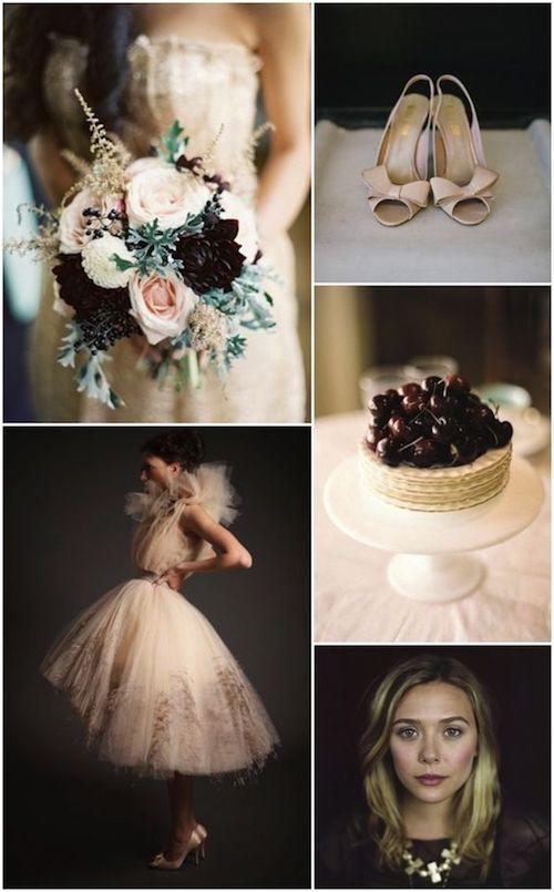 Ciruela y nude colores hermosos para una boda en otoño.