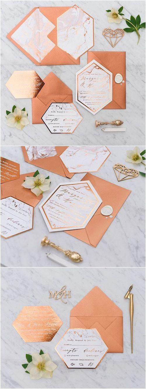 La combinación de cobre y mármol se luce en estas invitaciones de boda.