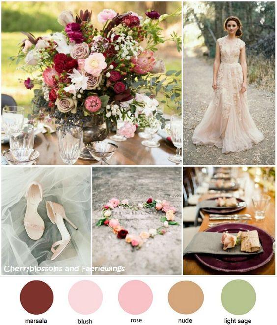 Combinación de colores para bodas en otoño.