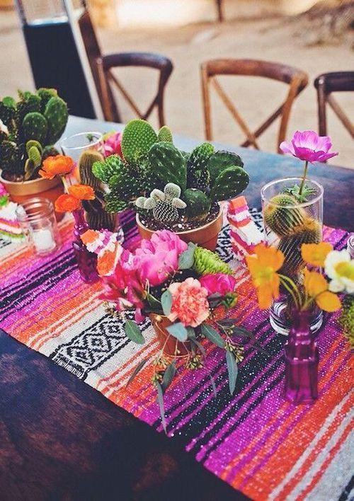 Inspiración tribal bohemia para la decoración de bodas con cactus.