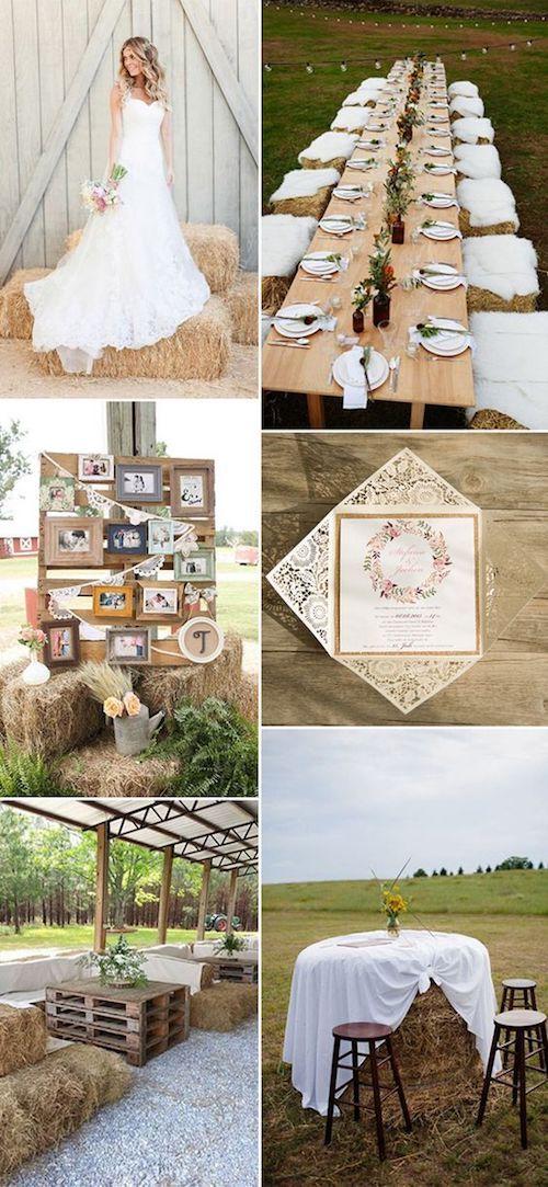 Los fardos de heno son buenos aliados de la decoración rústica para bodas.