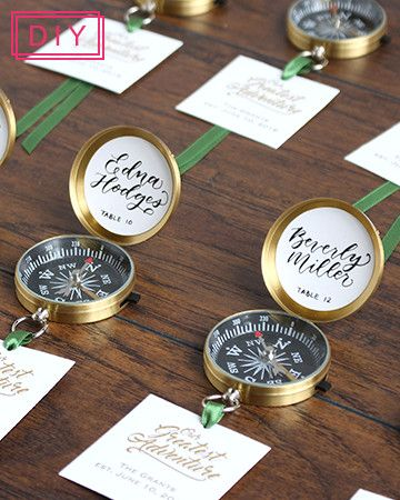 Escort cards and favors all-in-one for a travel-inspired second wedding.