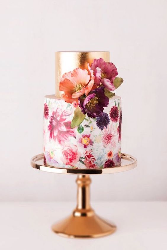 Hand painted floral cake with bronze. A dream come true!