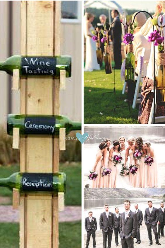When hosting a vineyard wedding grab hold of whatever is handy - like wine bottles as hanging vases.