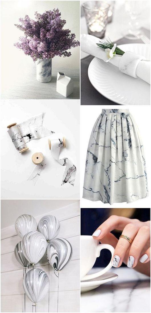 Inspiración para bodas en mármol y cobre.