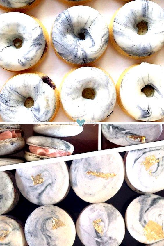Para las parejas amantes de las donuts y de los deliciosos macarons para bodas en mármol y cobre.