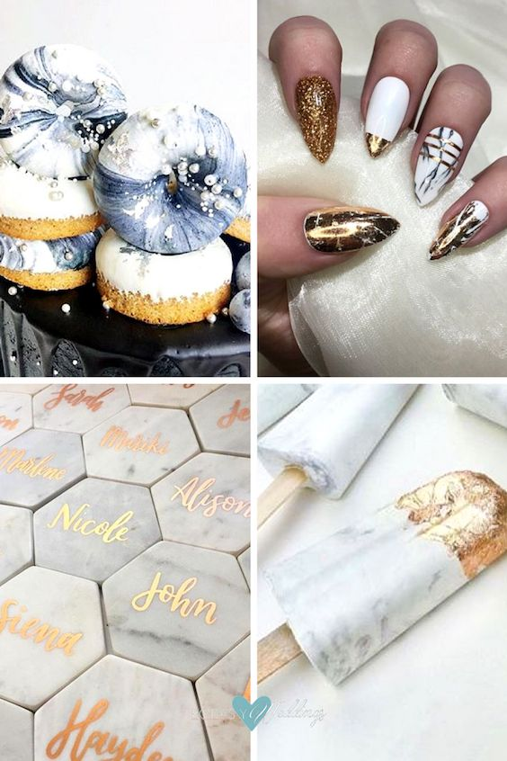 Donuts marmoladas que invitan a darles un mordisco, uñas adhesibles en mármol y cobre - una manicuría perfecta e instantánea, puedes regalarles los posavasos personalizados a tus invitados, y una idea original para sumar mármol a tu boda.