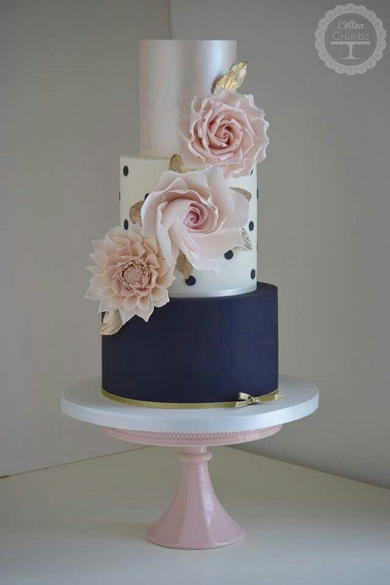 Blue polka dots and silver. A modern take on vintage wedding cakes by Cotton & Crumbs.