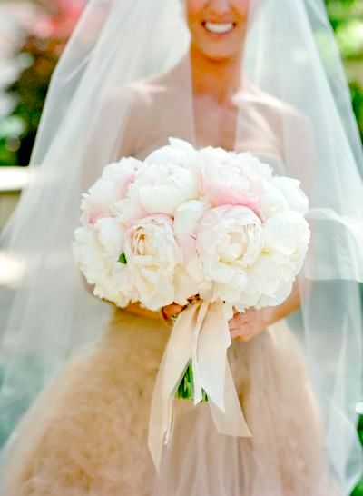 Amazing peonies bridal bouquet for this Santa Barbara wedding at Villa Sevillano. Photographer: Jose Villa.