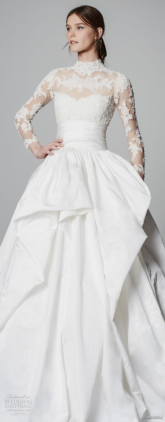 Princess ball gown wedding dress with sheer lace back from the Marchesa 2018 collection.