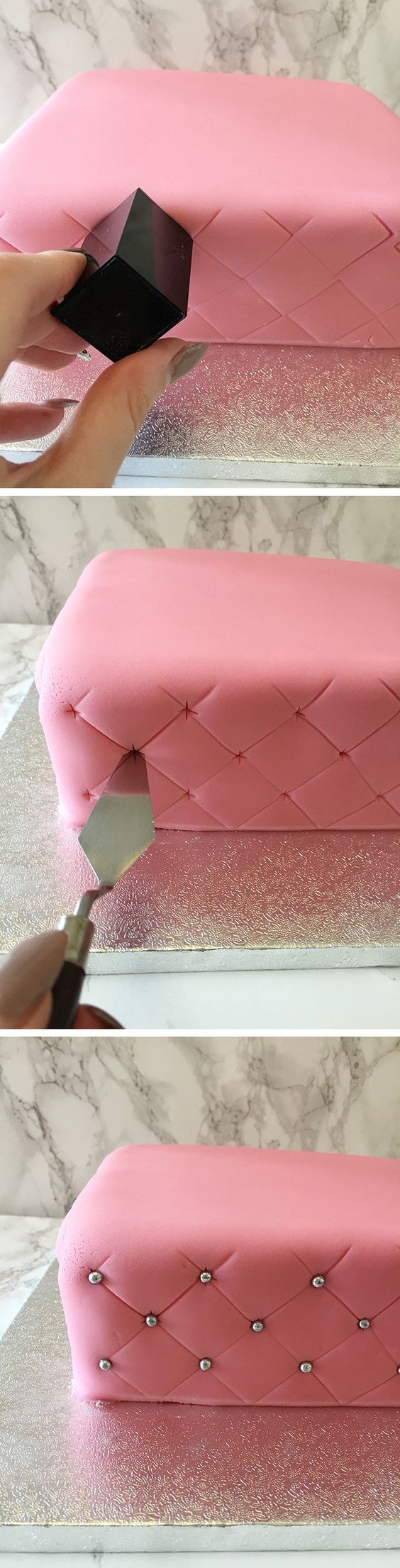 If you are decorating your own cake, here is a simple way to create some fab quilted effects.