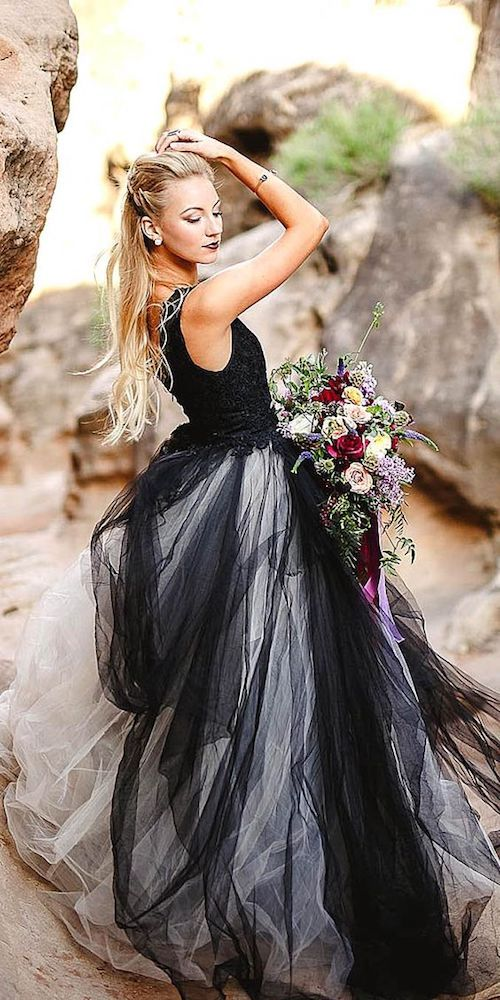 Rock a black and white wedding dress for your second marriage wedding.