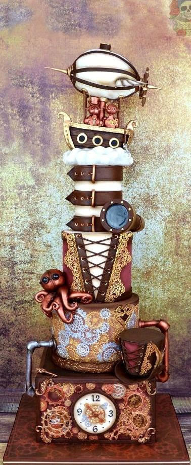 A blast from the past! Steampunk wedding cake.