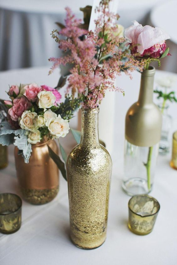 Recycle the wine bottles into your table centerpieces.