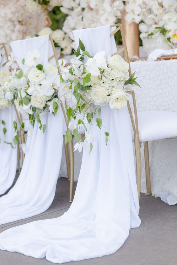 Perfect white wedding ideas add a pop of your favorite color nothing is lovelier than white wedding decor with delicate touches of greenery and a contrasting rose junglespirit Choice Image