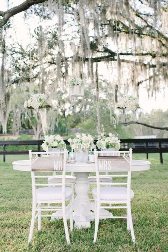 Simple table surrounded by the most amazing white wedding details.