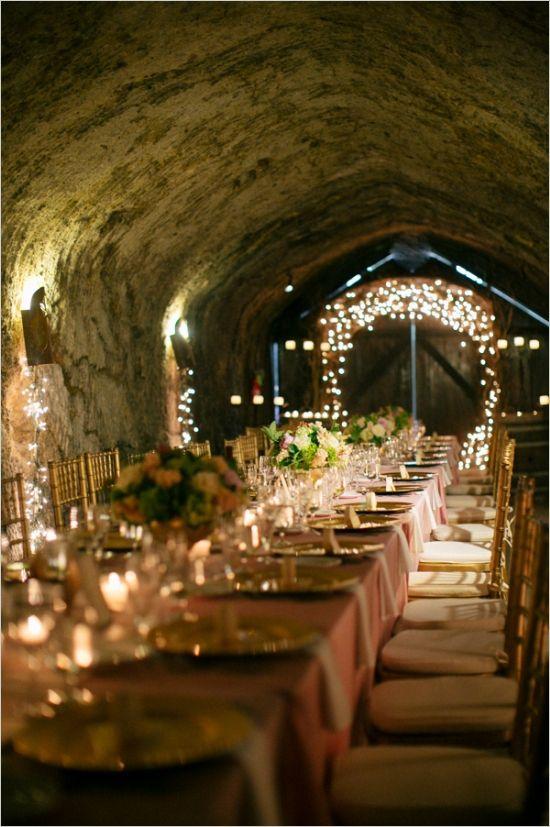 Wine cellar wedding reception.