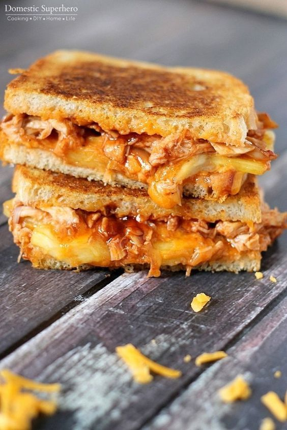 Add flavor to your grilled cheese party with this BBQ chicken and pineapple grilled cheese sandwich.