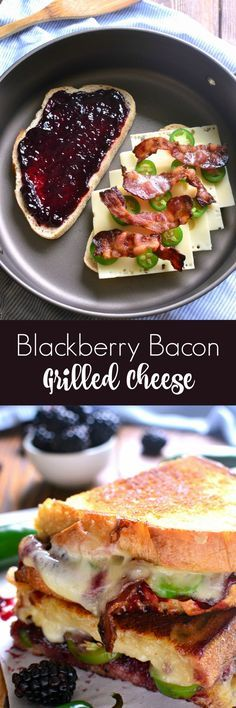 This blackberry bacon grilled cheese has the sweetness of the jam, the spiciness of the jalapeño and the maple saltiness of the bacon.