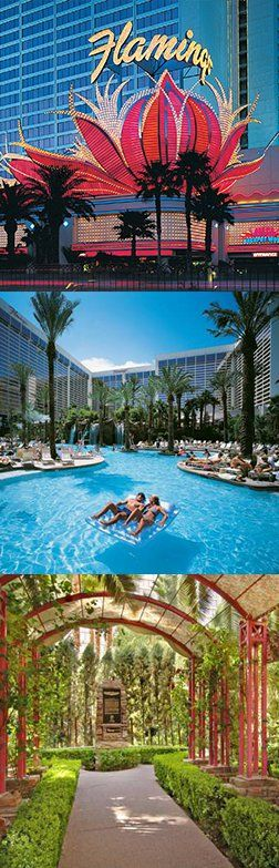 The Flamingo Las Vegas hotel with Art Deco aesthetic and tropical theme is a self-contained casino and resort offering everything an adventurous couple could want; including a tropical Wildlife Habitat and a 15-acre Caribbean-style water park.