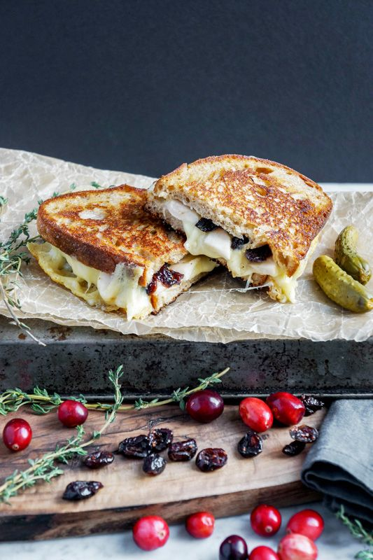 Grilled cheese gourmet style with roasted apples, cranberries and pecans.