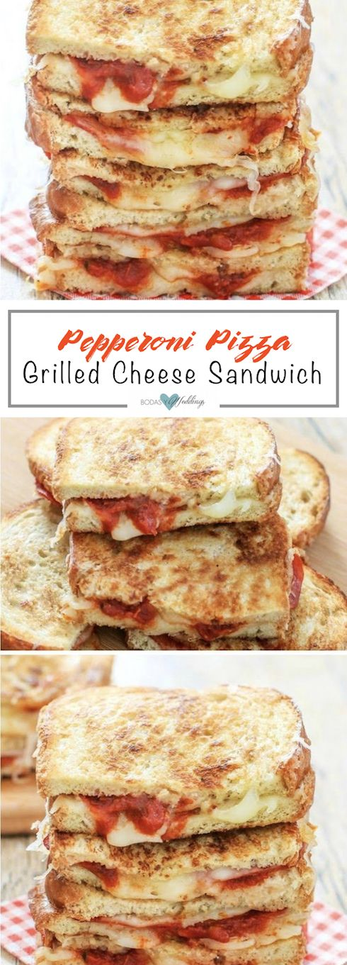 Grilled cheese sandwiches are kicked up a notch with the addition of pepperoni slices, mozzarella cheese and marinara sauce, giving rise to these scrumptious pizza grilled cheese sandwiches.