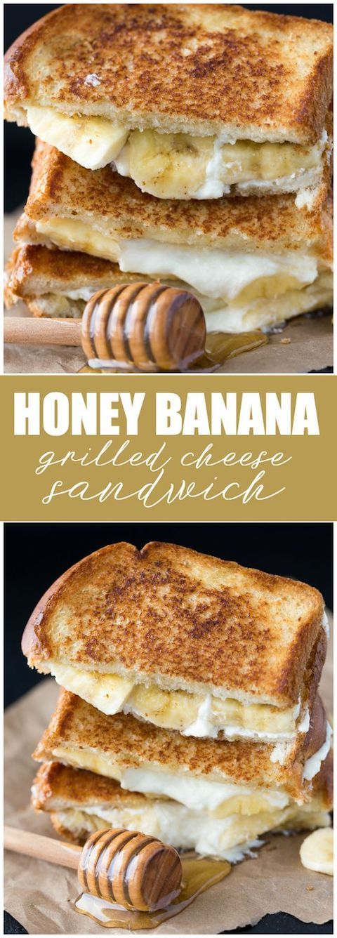 This may sound a bit strange until you taste it. Honey, banana and mascarpone grilled cheese sandwich. Try it out!