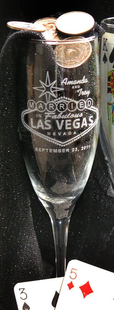 Las Vegas champagne toasting flutes. Set of 2 by artZengraving, $24.00.