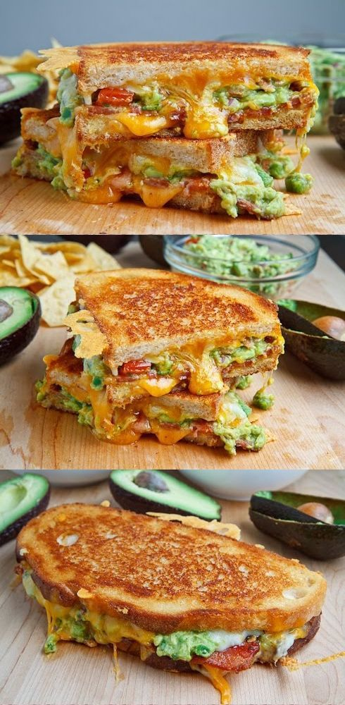 Add some Mexican party flair with these bacon, guacamole grilled cheese sandwiches.