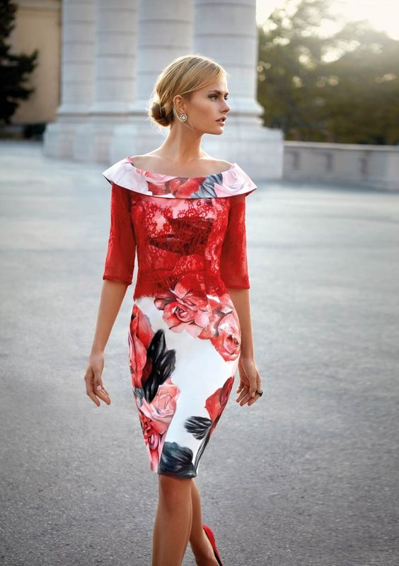 Mother of the bride dress designer Carla Ruiz use of colors, textures, and shapes stands out in her designs.