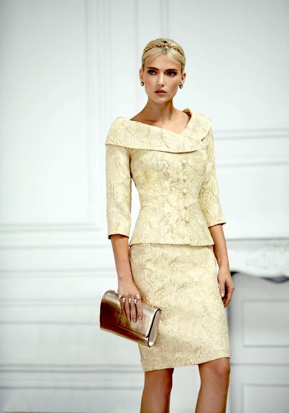 Mother of the bride or groom dress by Carla Ruiz. Notice the use of textures.
