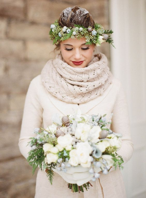 Rustic winter wedding bride.