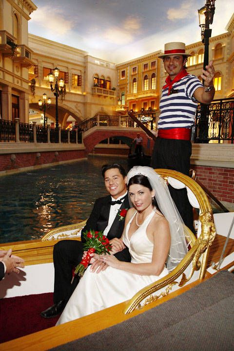 Gondolieri, take us to the church on time! Venetian Hotel, Las Vegas.