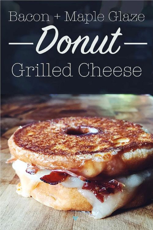 The donut craze extends itself to the grilled cheese sandwiches. Serve your guests these insane bacon and maple glaze donut grilled cheese.
