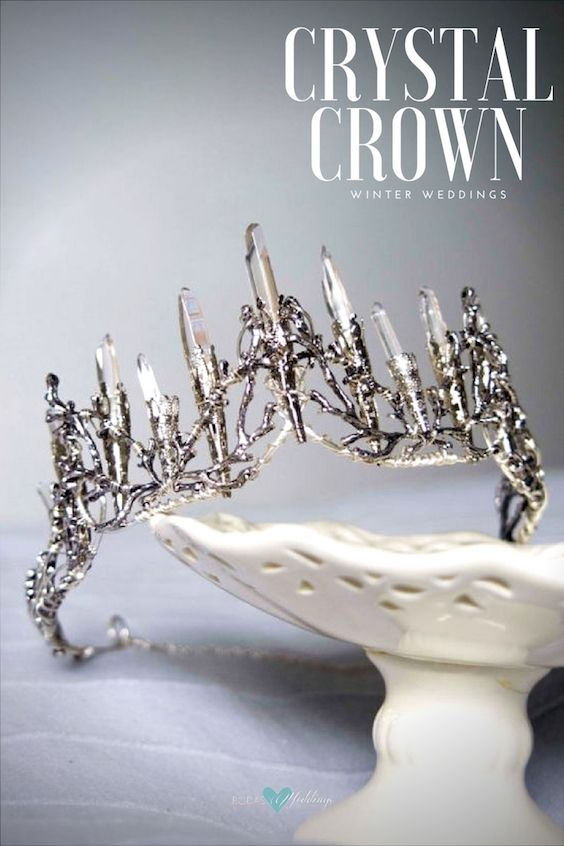 Fairytale crystal crown resembling wintery ice. Swoon!