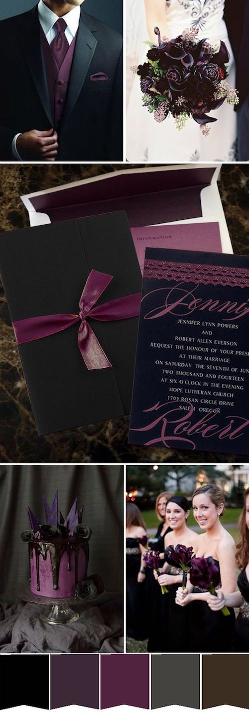 Dark purple and black winter wedding ideas.