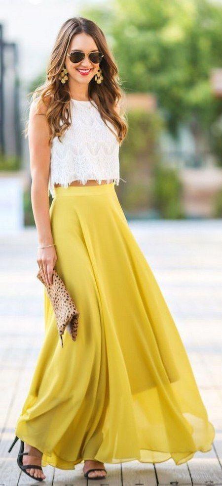 Faldas de gasa maxis vaporosas en amarillo. Un color que se impone para la temporada que entra.